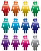 Vector colorful woman symbols — Stock Vector