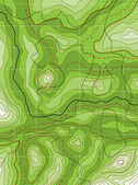 Vector abstract topographical green map — Stockvector