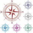 Vector set of colorful compasses — Stock Vector