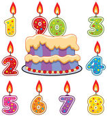 Vector birthday candles and cake — Stock Vector