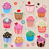 Vector set of colorful cupcakes — Stock Vector