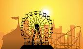 Vector siluetas de una ciudad y un parque de diversiones — Vector de stock