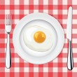 Vector fried egg on a plate whith fork and knife — Stock Vector #9080964