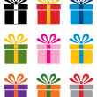 Vector set of colorful gift box symbols — Stock Vector