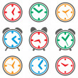 Stock Vector: Vector colorful clock symbols