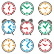 Vector colorful clock symbols — Stock Vector