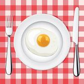 Vector fried egg on a plate whith fork and knife — Stock Vector
