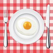 Vecteur de œuf sur le plat sur une plaque whith fourchettes et des couteaux — Vecteur