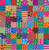 Vector patchwork fabric art background — Stock Vector