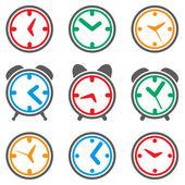 Vector colorful clock symbols — Stock Vector