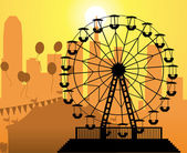 Vector silhouettes of a city and amusement park — Stock Vector