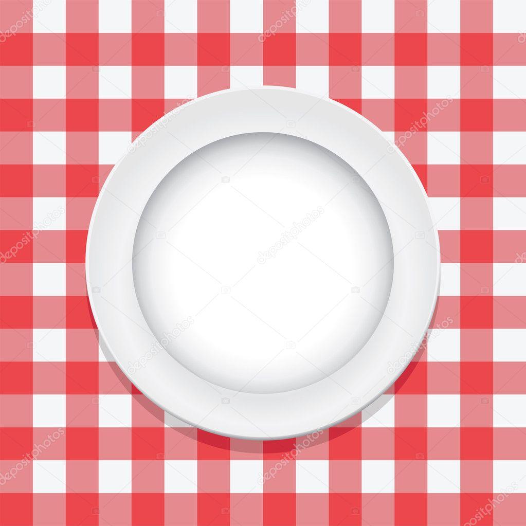 Mantel de picnic rojo vector y plato vac o vector stock - Platos para picnic ...