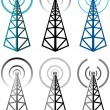 Vector set of radio tower symbols — Stock Vector #9145015