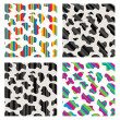 Vector set of abstract colorful cow skin texture — Stock Vector
