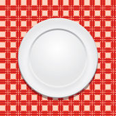 Vector picnic tablecloth and empty plate — Stockvektor