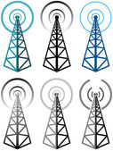 Vector set of radio tower symbols — Stock Vector