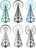 Vector set of radio tower symbols — Stock Vector