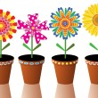Vector flowers in pots — Stock Vector