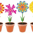 Stock Vector: Vector flowers in pots