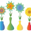 Stock vektor: Vector flowers in vases