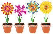 Vector flowers in pots — Vector de stock