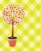 Vector pot tree in blossom — Stock Vector