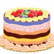 Vector delicious cake with fruits - Stock Vector