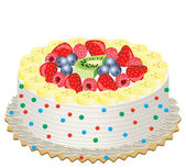 Vector delicious cream cake with fruits — Stockvektor