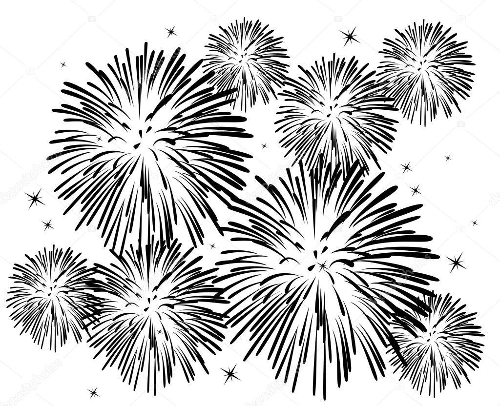 Vector black and white fireworks — Stock Vector © dmstudio ...