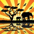 Vector animals in africa — 图库矢量图片