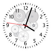 Vector clock and gears — Stockvektor