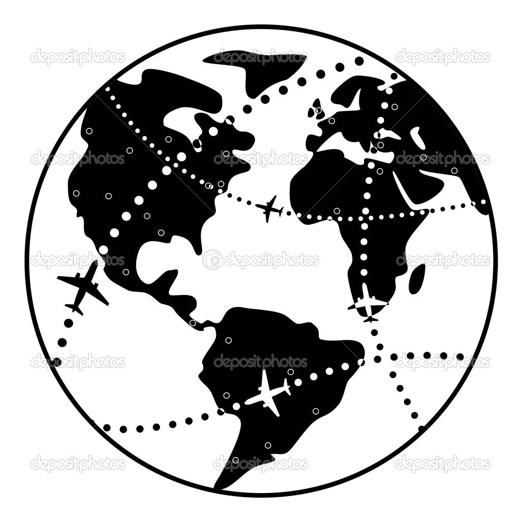 Vector airplane flight paths over earth globe — Stock ...
