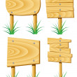 Stock Vector: Vector wooden elements and grass
