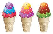 矢量炫彩冰淇淋锥体 — 图库矢量图片