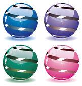 3d vector globes — Stock Vector