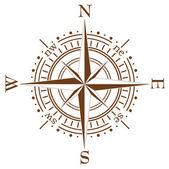 Vector brown compass — Stock Vector