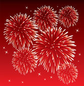 Vector red fireworks — Stock Vector