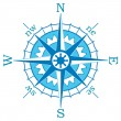 Vector blue compass — Stock Vector