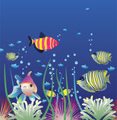 Vector aquarium and colorful fishes — Stock Vector