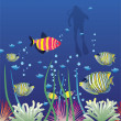 Vector tropical fishes and scuba diver - Stock Vector