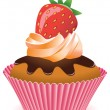 Stock Vector: Vector cupcake with strawberry