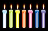 векторный набор зажженные свечи — Cтоковый вектор