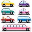 Stock Vector: Vector set of colorful cars