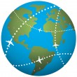 Stock Vector: Vector airplane flight paths over earth globe