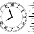 Stock Vector: Vector clock and set of hands