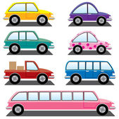 Vector set of colorful cars — Stock Vector