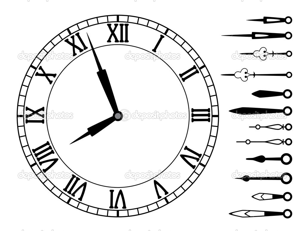 Vector clock dial with roman numbers and set of clock hands — Stock Vector #9417777