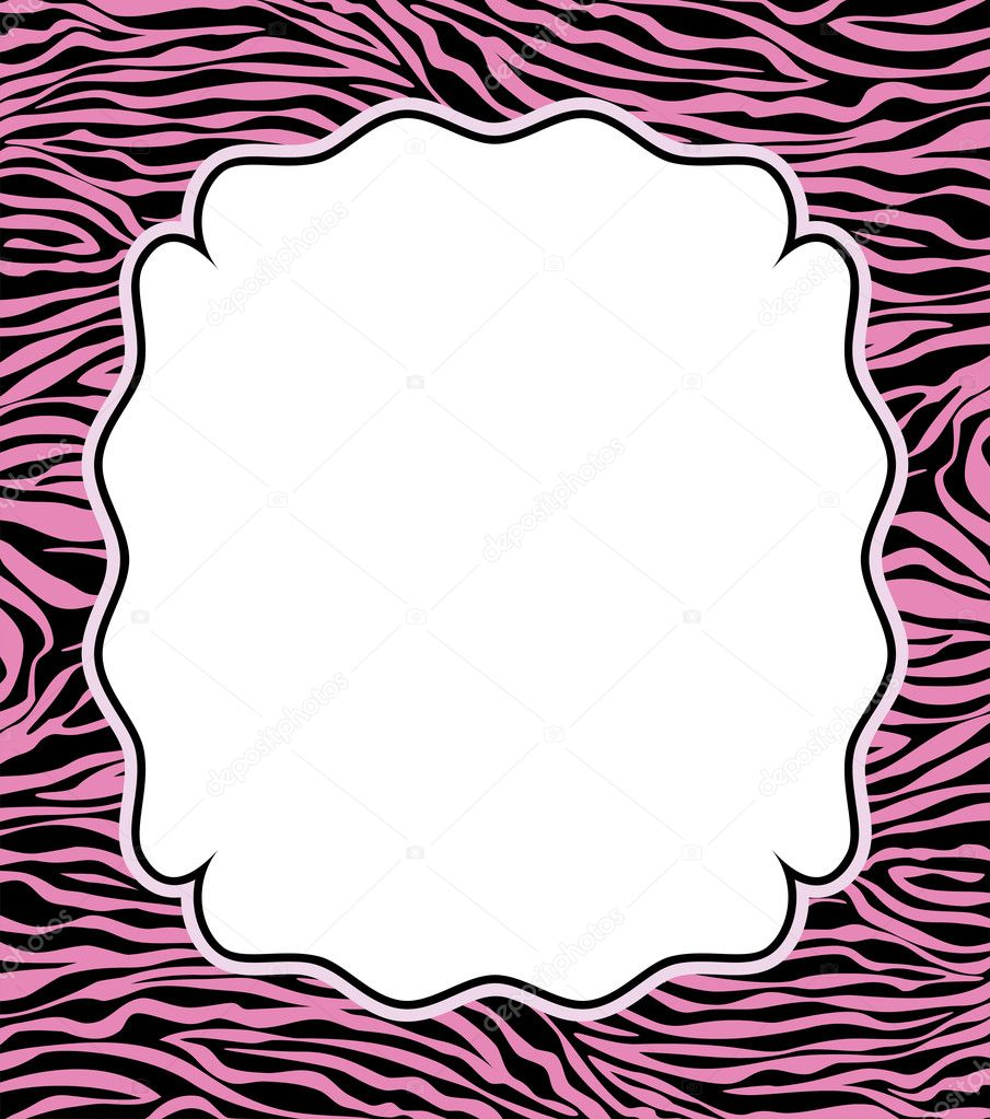 Vector frame with abstract zebra skin texture and copy-space — Stock Vector #9417819
