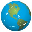 vector airplane flight paths over earth globe — Stock Vector