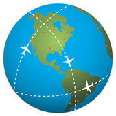 Vector airplane flight paths over earth globe — Stock Vector